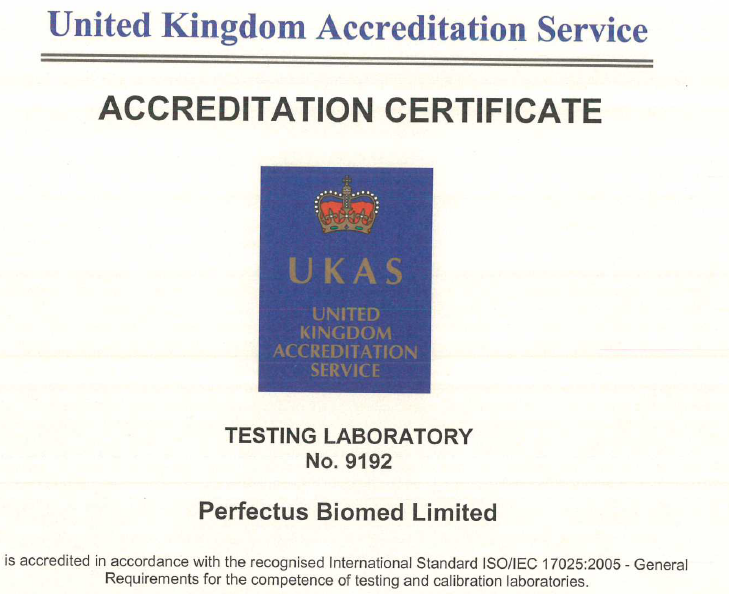 Perfectus Biomed have successfully maintained UKAS Accreditation